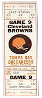 Cleveland Browns vs. Tampa Bay Buccaneers 1980 Game 4 Gameday ticket BuccaneersFan