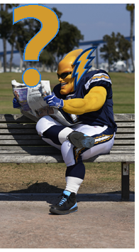Los Angeles Chargers, Formerly San Diego Chargers offical team Mascot Swoop and Opponent of the Tampa Bay Buccaneers Fan