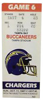 Los Angeles Chargers, Formerly San Diego Chargers vs. Tampa Bay Buccaneers 1980 Game 4 Gameday ticket BuccaneersFan