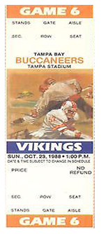 Minnesota Vikings vs. Tampa Bay Buccaneers 1980 Game 4 Gameday ticket BuccaneersFan