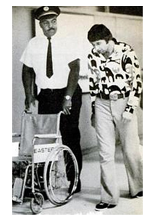 Broadway Joe with his head hung low. Namath refuses a wheelchair at T.I.A.
