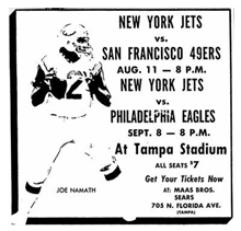 New York Jets vs 49ers Namath Getting Chance To Work in Tampa
