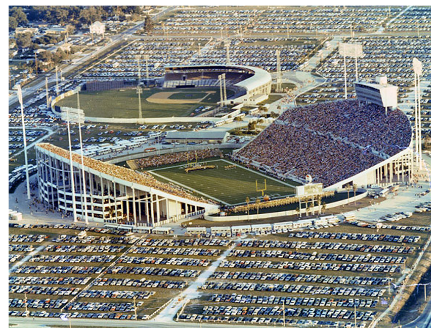August 7, 1971, shows a then-record crowd of 51,214 at Tampa Stadium for a National Football League exhibition game between the New York Jets and Detroit Lions