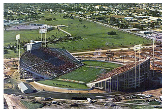 Spartans and Volunteers christen Tampa Stadium, 11/4/67. The property seen here above the stadium is now the site of the NY Yankees' Legends Field.