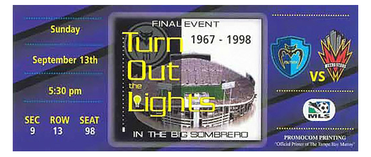 Sunday, September 13th, 1998 Tampa Bay Mutiny's final home game in September 1998