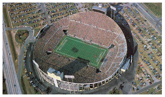 Blimp view of the Big Sombreo stadium in Tampa home of th eBuccaneers
