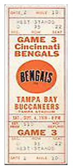 Cincinnati Bengals vs. Tampa Bay Buccaneers 1980 Game 4 Gameday ticket BuccaneersFan