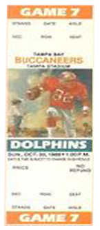 Miami Dolphins vs. Tampa Bay Buccaneers 1980 Game 4 Gameday ticket BuccaneersFan