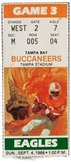 Philadelphia Eagles vs. Tampa Bay Buccaneers 1980 Game 4 Gameday ticket BuccaneersFan