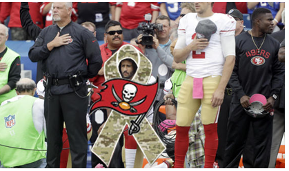 Former San Francisco 49ers Quarterback Colin Kaepernick kneels in protest of National Anthem BuccaneersFan Believes this Protest kneel would have been more effective and less controversal after each touchdown as a gester of overcoming adversity BuccaneersFan thanks ALL who have sacrificed to give individuals the ability to freely voice obisistion and our freedom to say Be Respectful and Use Commonsense
