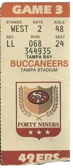 San Francisco 49ers vs. Tampa Bay Buccaneers Game 3 Gameday ticket for Tampa Stadium from BuccaneersFan